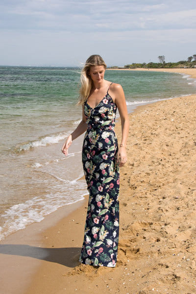 Tall-button-plunge-floral-maxi-dress-beach-font-view