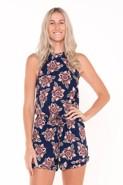 tall-tie-up-blue-floral-print-romper-playsuit-front-view