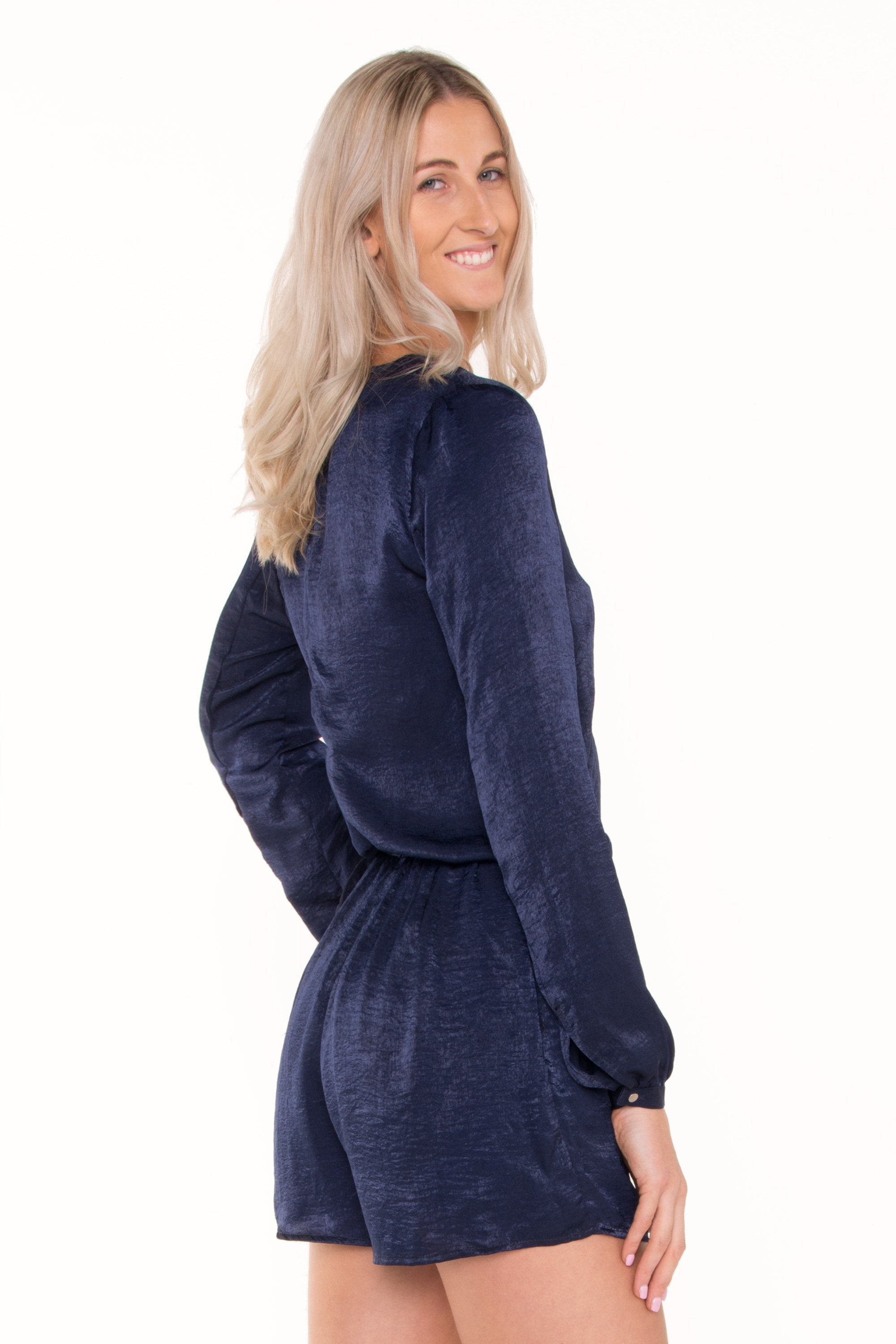 uk availability color brilliancy stylish design Navy Cross-Over Long Sleeve Playsuit - HEIGHT-OF-FASHION