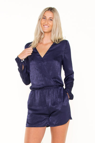 navy-cross-over-long-sleeve-playsuit-front-view