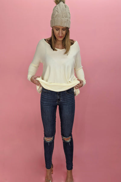V Neck Super Soft Boxy Knit - Cream