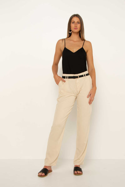 long-tall-cream-tapered-pant-work-trouser-day-wear-front-flattering-hand-in-pocket
