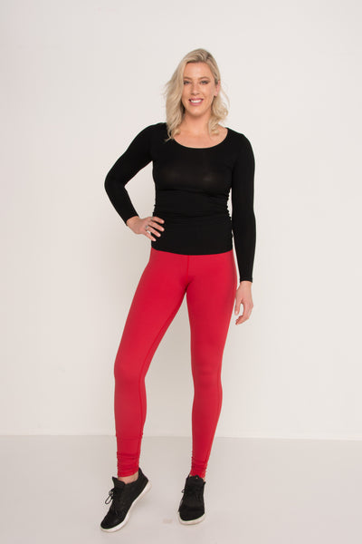 Red Double Stretch Leggings