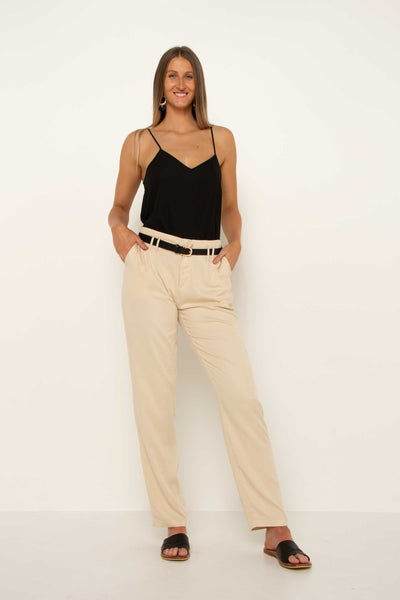 long-tall-cream-tapered-pant-trouser-hands-on-hips-flattering-soft-fabric