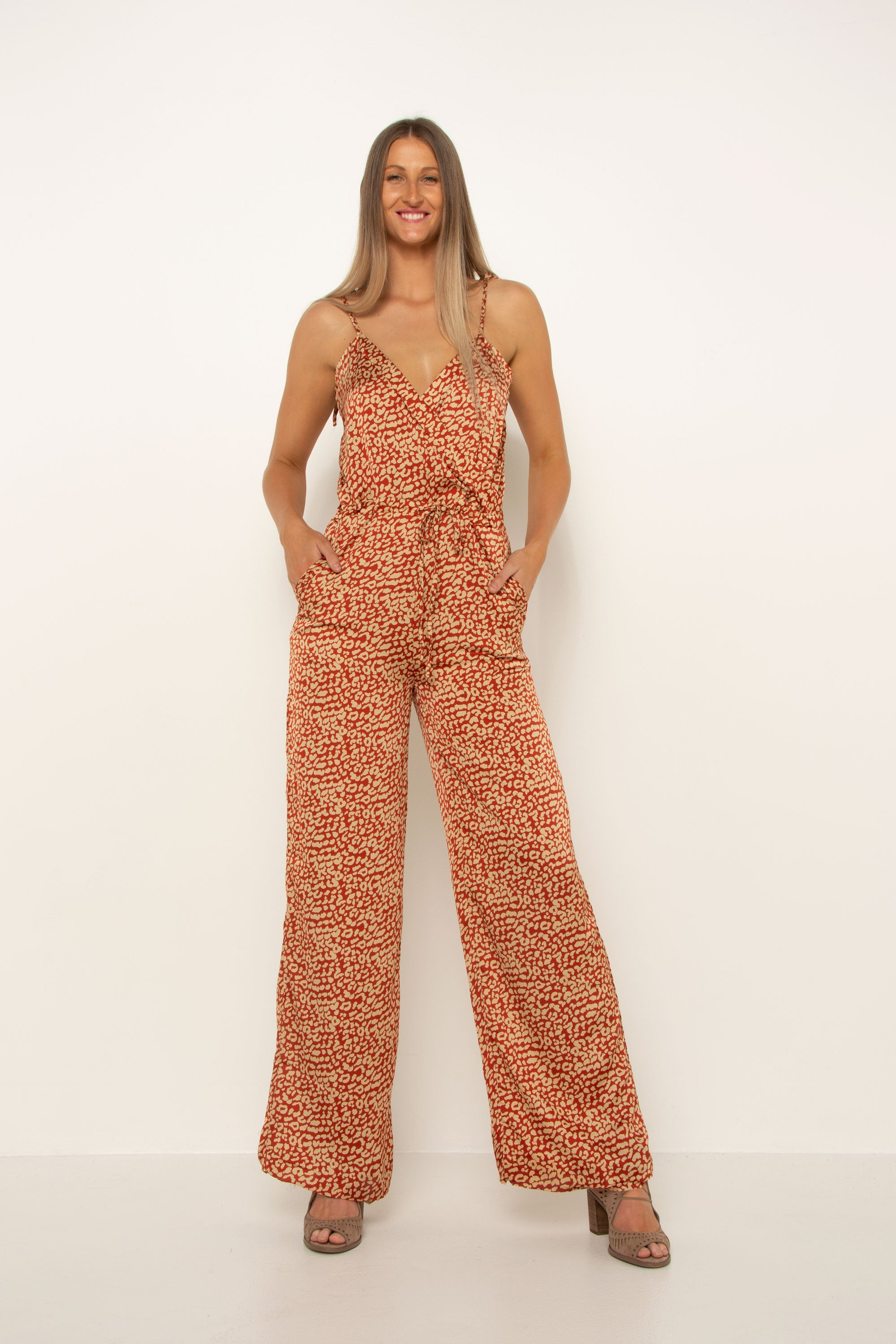 Leopard Print Cross Over Jumpsuit