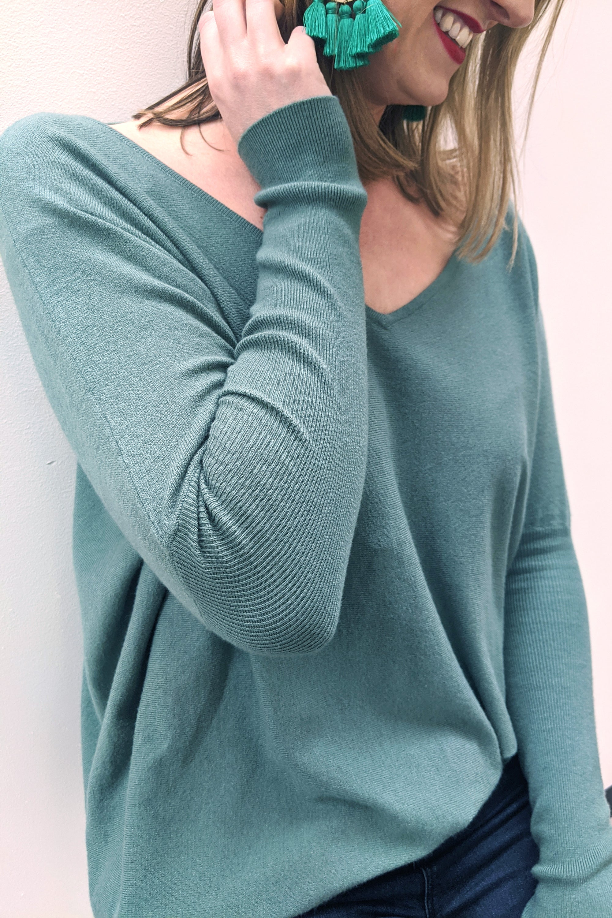V Neck Super Soft Boxy Knit - Sage