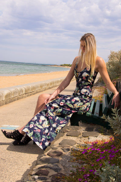 Tall-button-plunge-floral-maxi-dress-beach-candid