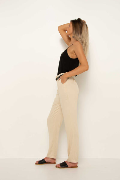 long-tall-cream-tapered-pant-work-trouser-side-hand-in-pocket-evening-look