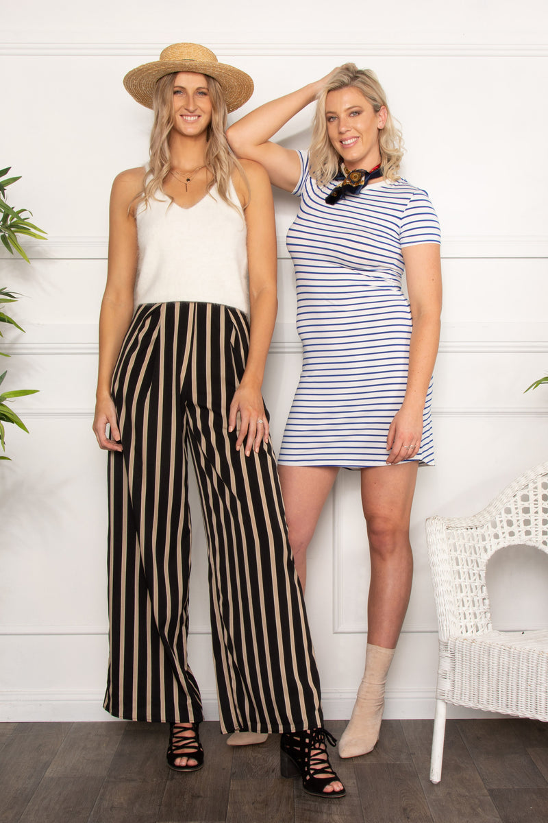 Long High Waisted Stripe Trousers