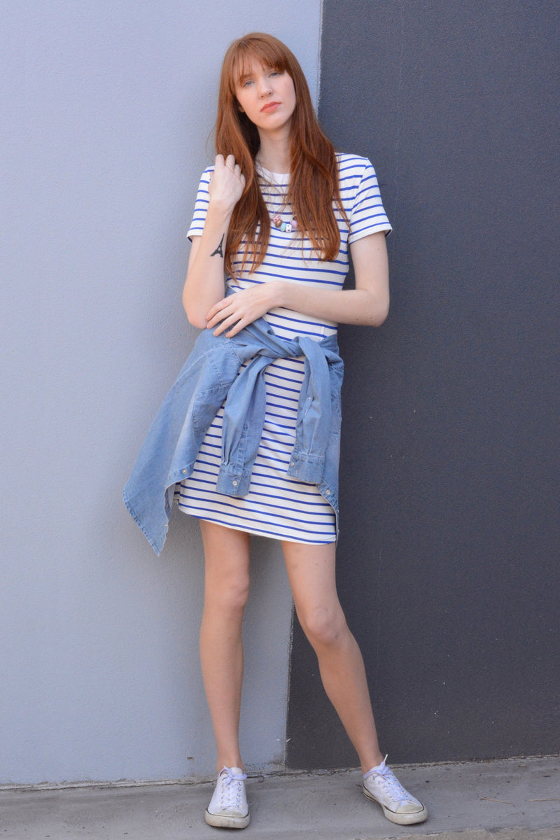 tall-nautical-stripe-t-shirt-dress-with-blazer-jacket-and-hat-clean-lines-soft-flattering-day-wear
