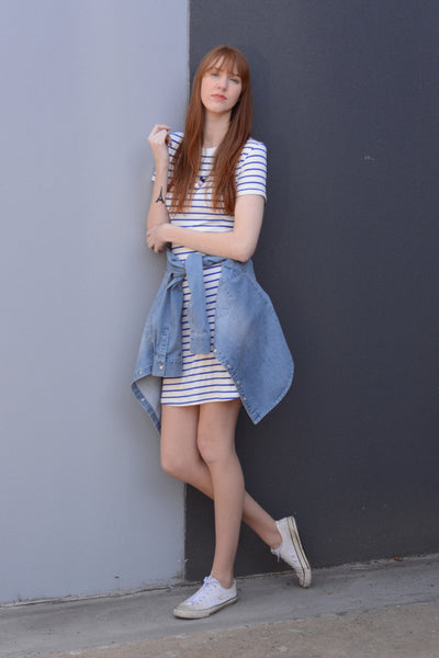 casual-tall-nautical-stripe-tshirt-dress-with-denim-jacket-tied-around-waist-street-wear-look