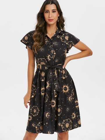 Women's Belted Sun Moon & Stars Dress