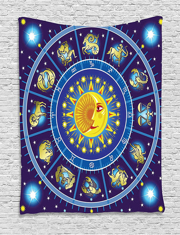 Horoscope Zodiac Tapestry Wall Hanging