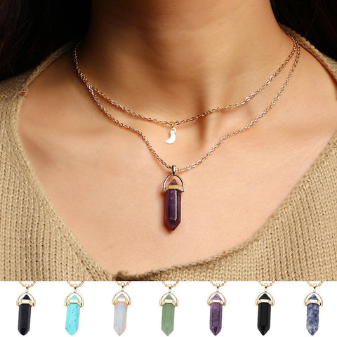 Natural Stone Quartz Pendant Necklaces - Her Majesty's Goods