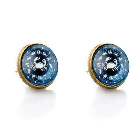 Zodiac Stud Earrings Cancer the Crab - Her Majesty's Goods