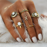 Moon Themed Finger Rings Set - Her Majesty's Goods