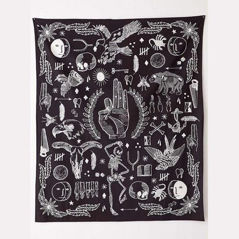 Mystical Black & White Tapestry/Wall Hanging - Her Majesty's Goods