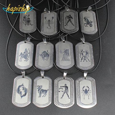 "Stainless Steel Zodiac Signs Pendant 17"" Necklaces - Her Majesty's Goods"
