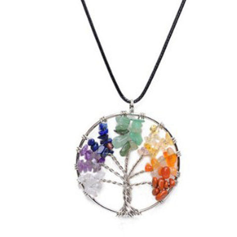 Tree of Life Crystal Multi-Colored Crystal Necklace - Her Majesty's Goods