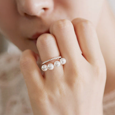 Double layer Simulated Pearl Ring