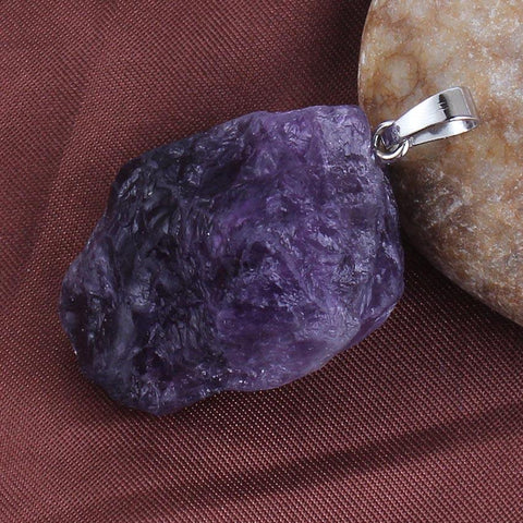 Silver Plated Amethyst Crystal Pendant