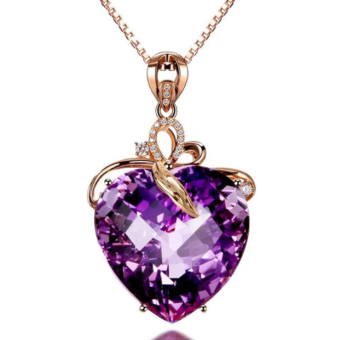 Heart Shaped Amethyst Pendant 18K Gold