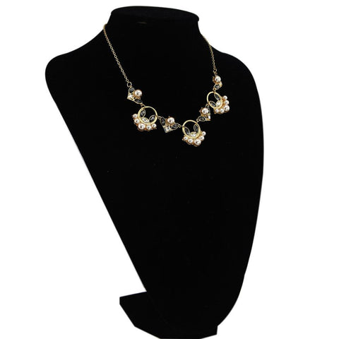 Crystal & Pearl Flower Statement Necklace - Her Majesty's Goods