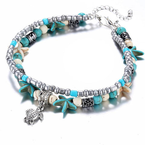 Silver & Turquoise Beaded Turtle & Starfish Anklet