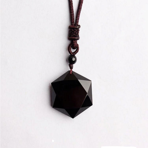 Natural Black Obsidian Stone Pendant Necklace