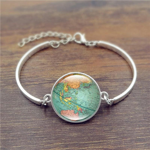 Silver Chained Globe Bracelet - Her Majesty's Goods