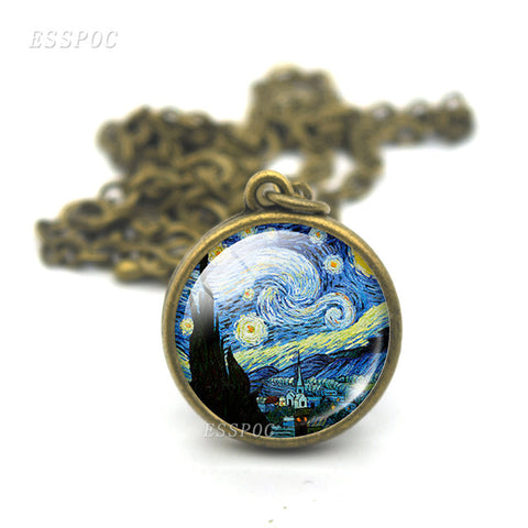 Van Gogh's Starry Night Pendant Necklace