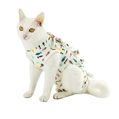 Professional Recovery Suit for Abdominal Wounds and Skin Diseases,E-Collar Alternative for Cats and Female Dogs, Size Small, After Surgery Wear, Recommended by Vets