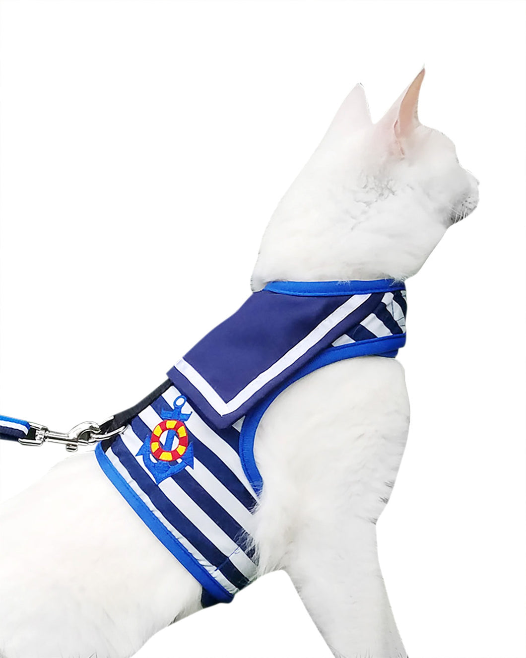 Escape Proof Cat Harness with Leash X-Small, Adjustable Cat Walking Jackets, Padded Cat Vest Sailor Suit Navy