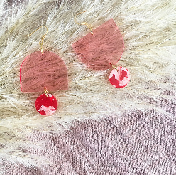 Topsy Turvy Earrings - Pink & Pink/Red