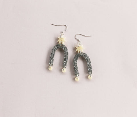 Starburst Earrings - Cream & Silver