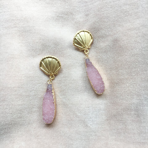 Pink Clam Shell Earrings