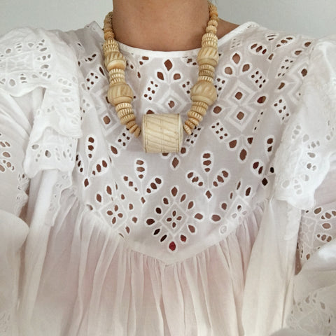 Vintage White Chunky Beaded Choker