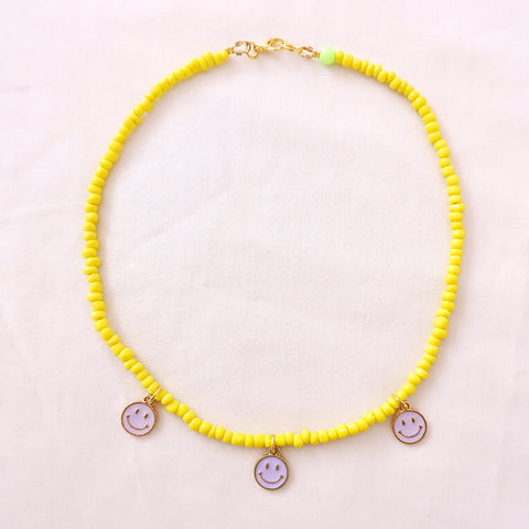 Yellow & Lilac Smiley Face Choker