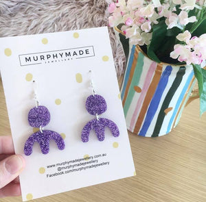 Adaline Earrings - Purple Glitter
