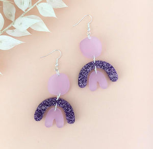 Pharoh Earrings - Frosted Mauve & Purple