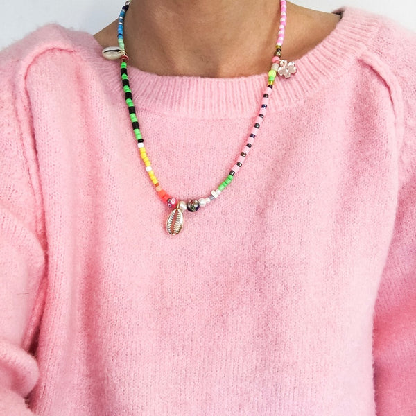 Bright Green & Pink Necklace