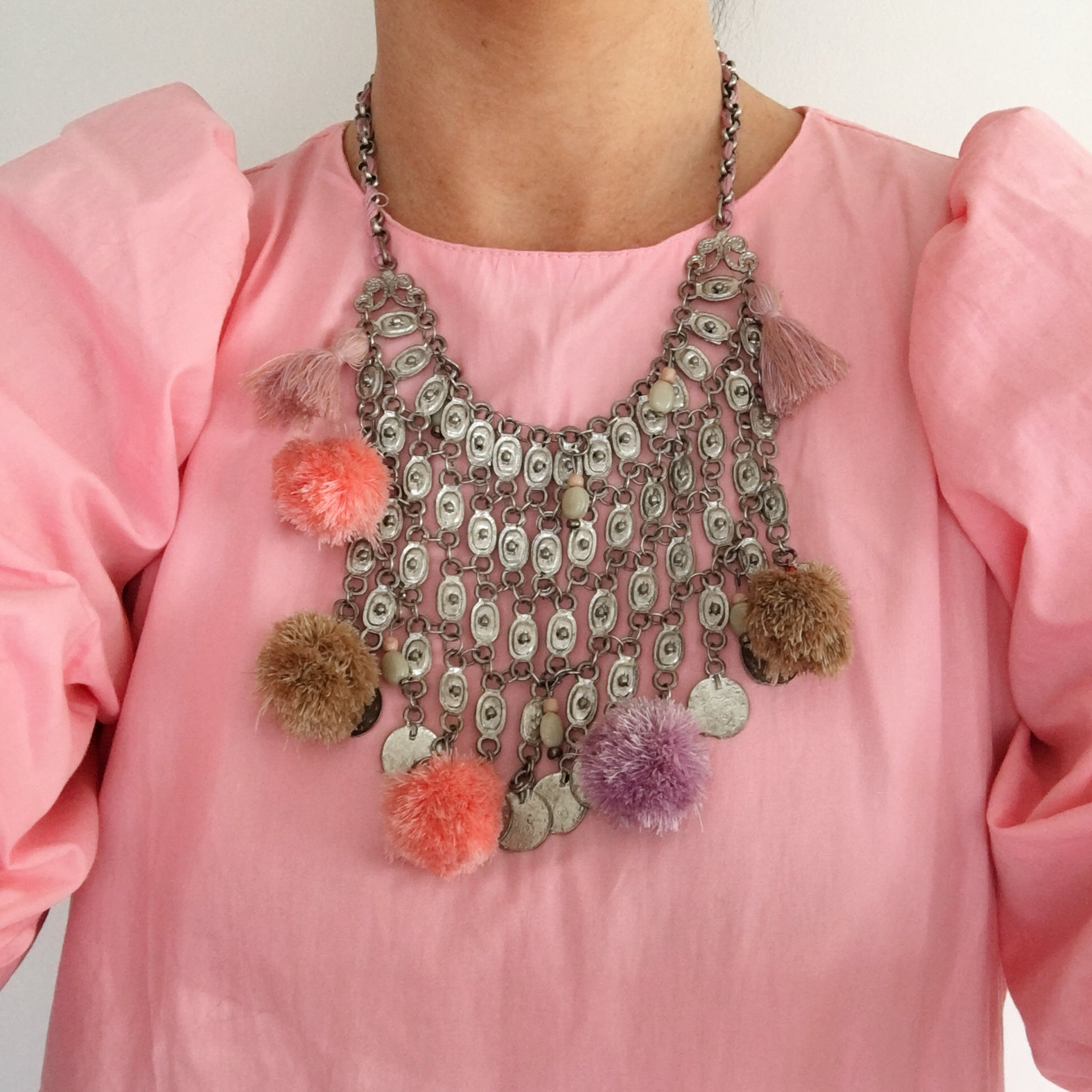 Vintage Pom Pom Choker Necklace