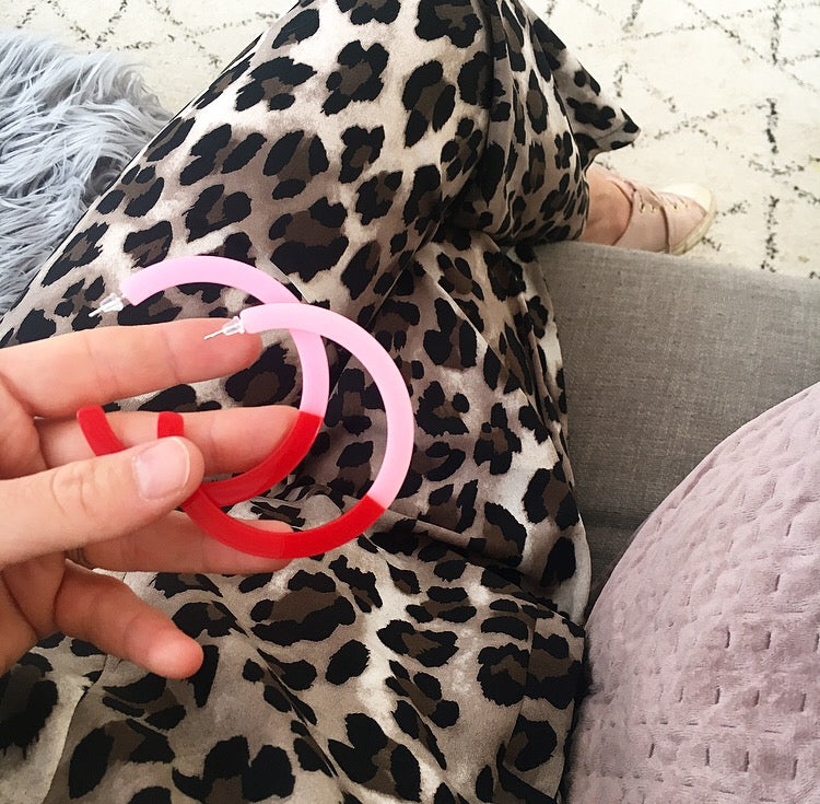 Ziggy Hoops - Pink & Red