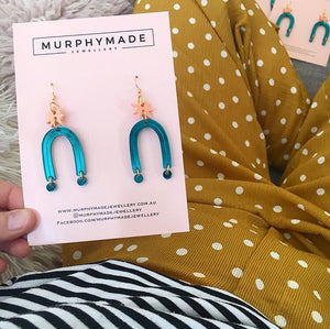 Starburst Earrings - Teal & Peach