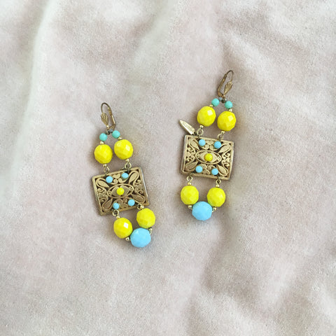 Lemon Yellow & Turquoise Earrings by Bridgette Boutry