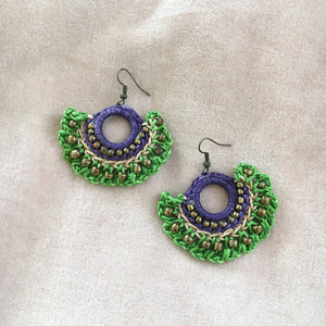 Lime Green Woven Earrings
