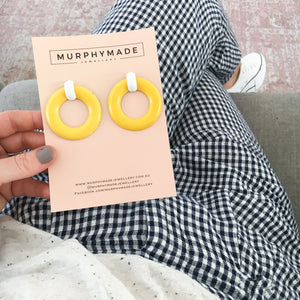 Lemon & White Earrings