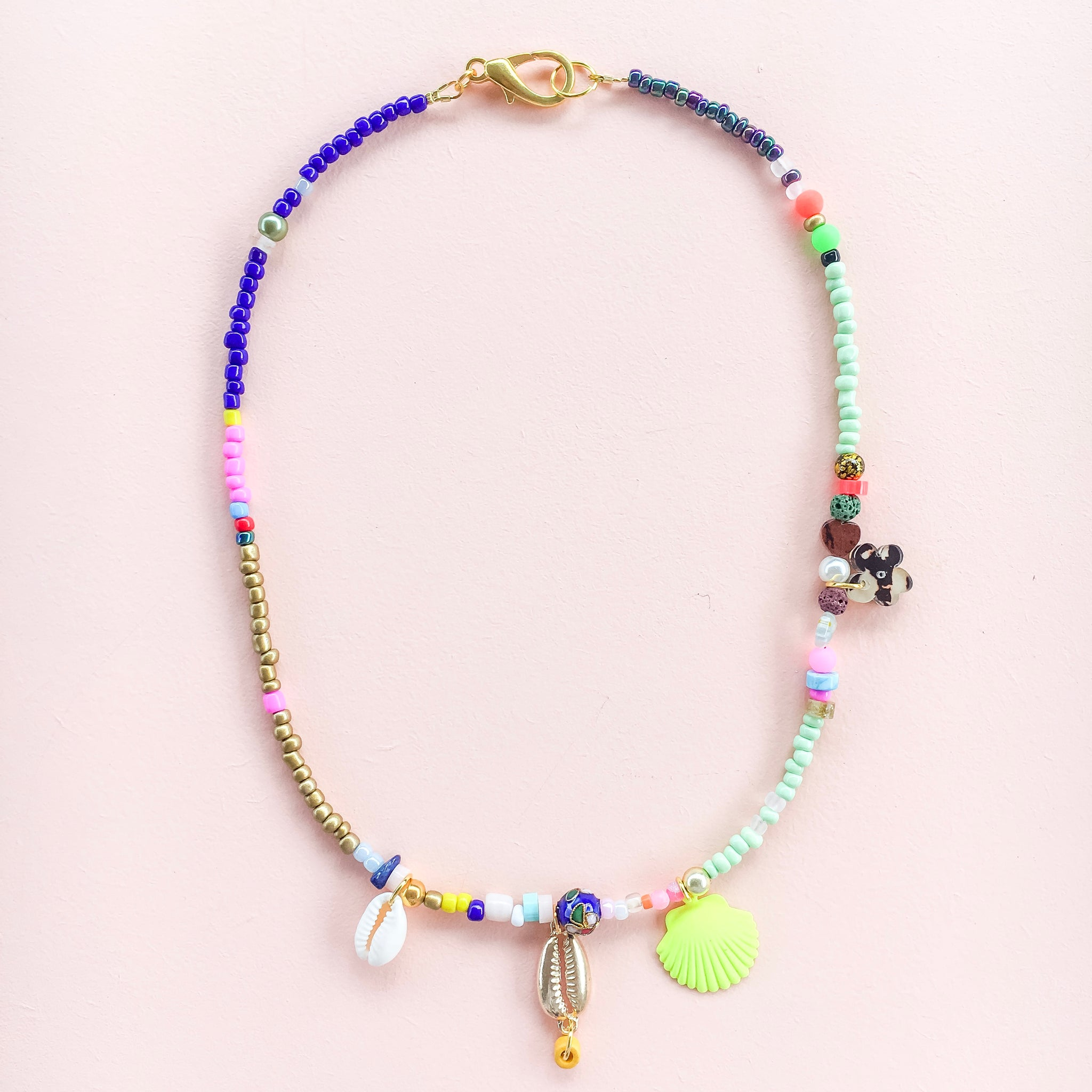 Blue, Green & Gold Necklace with Neon Yellow Clam Shell