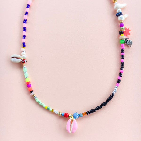 Pink, Blue & Black Necklace with Pale Pink Cowrie