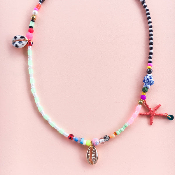 Pastel Green Necklace with Star Cowrie & Starfish Charm